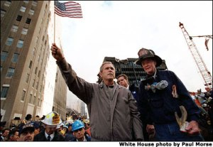 Bush-withFiremenAfter9-11